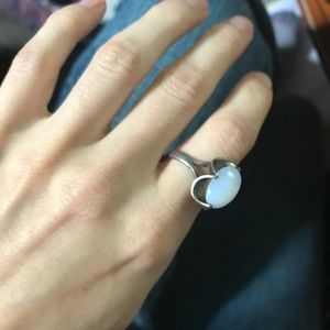 Vintage Jewelry - Moonstone Gorgeous Set Real Silver Ring